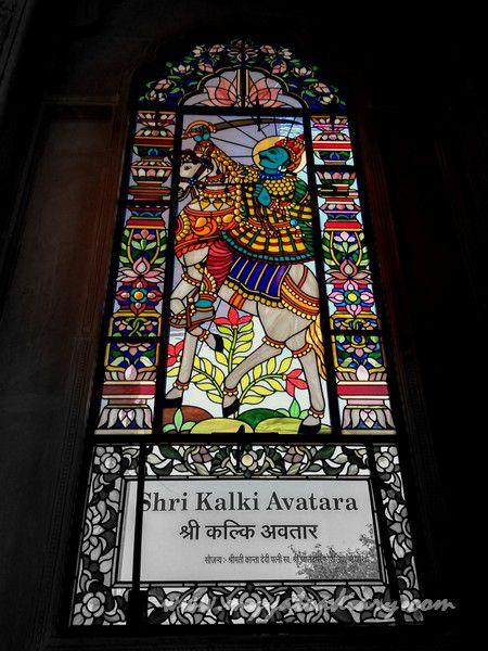 Kalki avatar stained glass window vedic art gallery - ISKCON Jaipur, Rajasthan