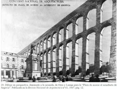 Proyecto de Plaza de Acceso al Acueducto de #Segovia. 1946 Sáenz de Oiza y Laorga