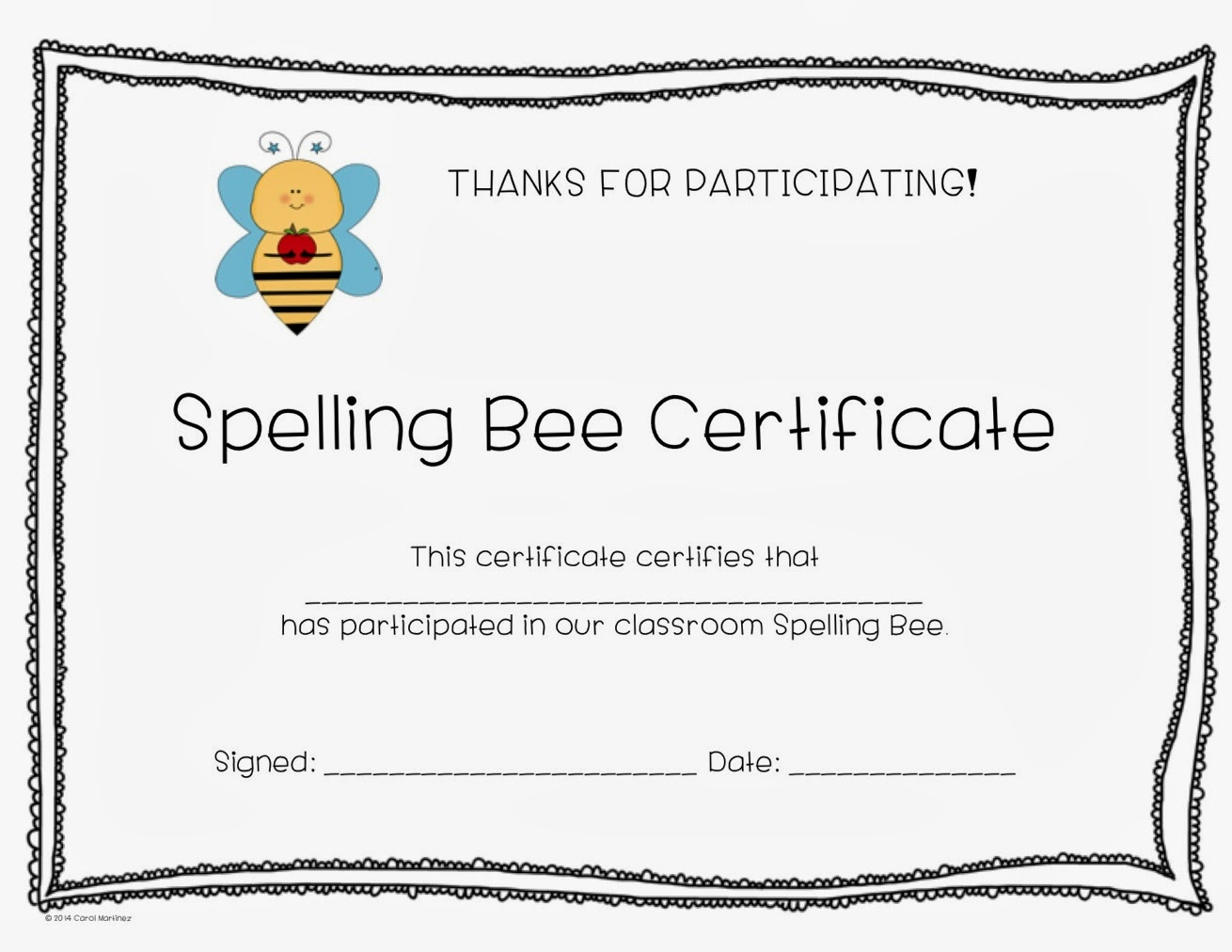 C is for creative classroom spelling bee certificate for Spelling bee invitation template