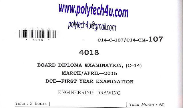 POLYTECHNIC ENGINEERING DRAWING C-14 PAPER 2016