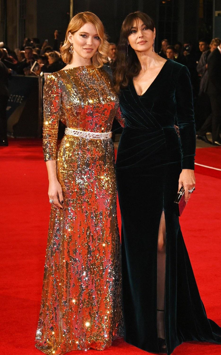 Lea Seydoux & Monica Bellucci at the Spectre premiere Red carpet