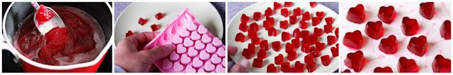 DIY red gummy heart Valentine's Day dog treats, step-by-step how to make