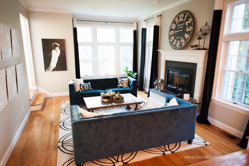 Open Concept Dining And Living Room Decor Makeover Brooklyn Limestone