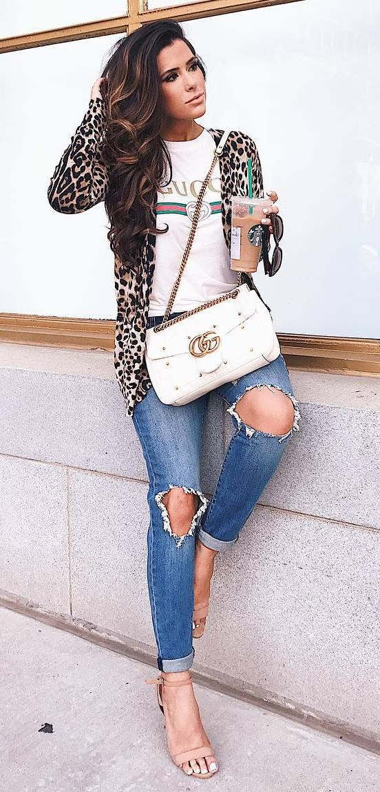 amazing outfit idea : animal printed cardi + tee + bag + ripped jeans + heels