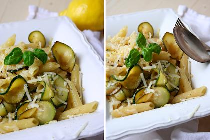 Schnelle Feierabendküche {Penne mit gebratener Zucchini und Zitrone}