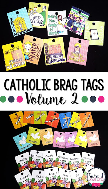 Catholic Brag Tags Vol. 2 are a great behavior management system for any Catholic school classroom, religious formation class, Sunday school etc.  A variety of tags including virtues, gifts of the Holy Spirit, Catholic activities and more.