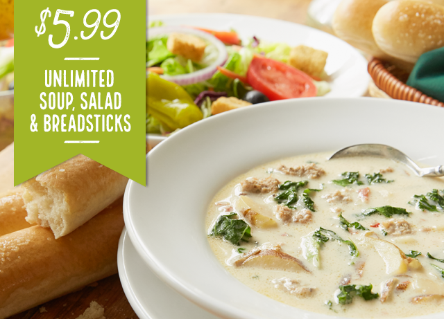 Olive Garden: Unlimited Soups, Salad and Bread Sticks for $5.99
