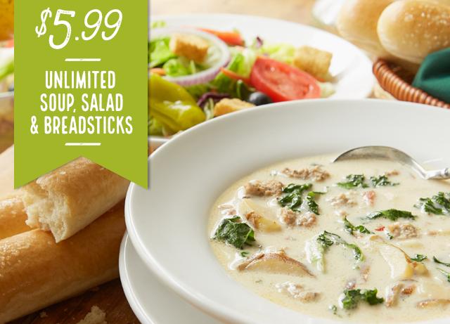 deals at olive garden. Olive Garden: Unlimited Soups, Salad And Bread Sticks For $5.99 Deals At Garden