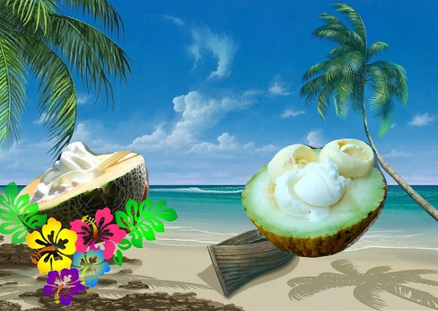Dessert au melon express, glace à la vanille, chantilly