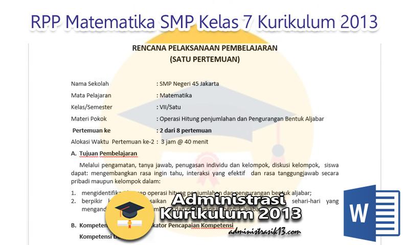 Download Rpp Matematika Smp Kelas 7 Kurikulum 2013 Edisi Revisi 2016 Administrasi Kurikulum 2013