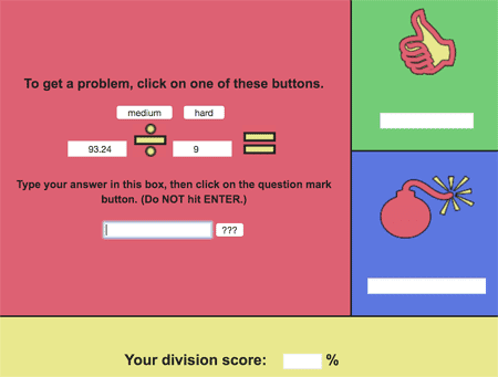Medium online activities on dividing decimals