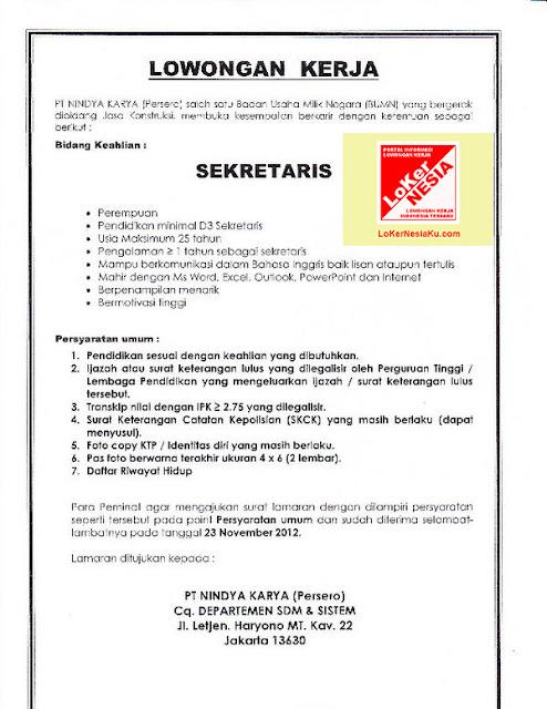 Lowongan Kerja BUMN Nindya Karya Oktober 2012 untuk Posisi Sekretaris Di Jakarta