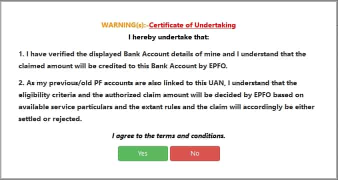 PF Certificate of Undertaking