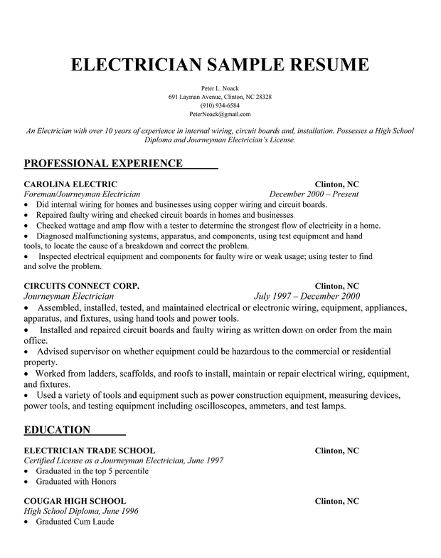 electrician sample resume - Templates