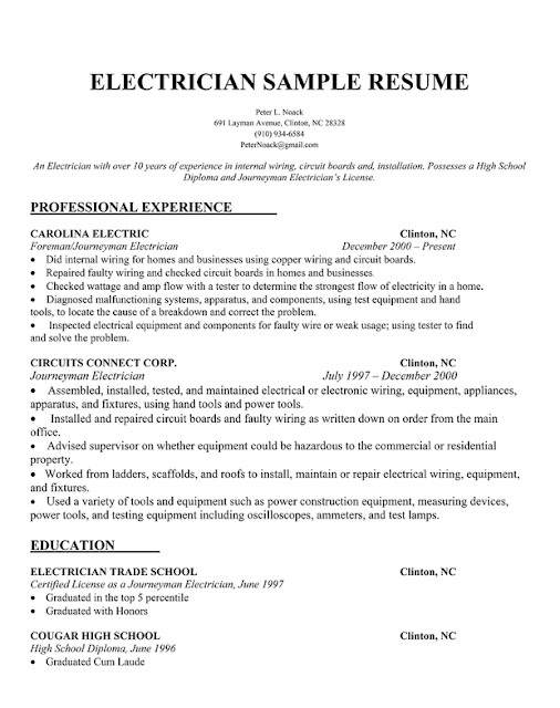 Electrician Resume Example Electrical Contractor Sample Resumes