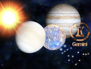 Sun, Mercury, Venus and Jupiter in Gemini
