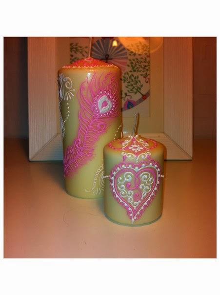свеча с росписью хной