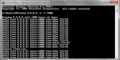 Hasil menstabilkan koneksi internet dengan mudah dan praktis menggunakan  CMD