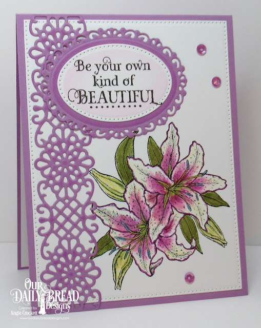 ODBD Beauty, ODBD Custom Flower Lattice Border Die, ODBD Custom Ornate Ovals Dies, ODBD Custom Pierced Ovals Dies, Card Designer Angie Crockett