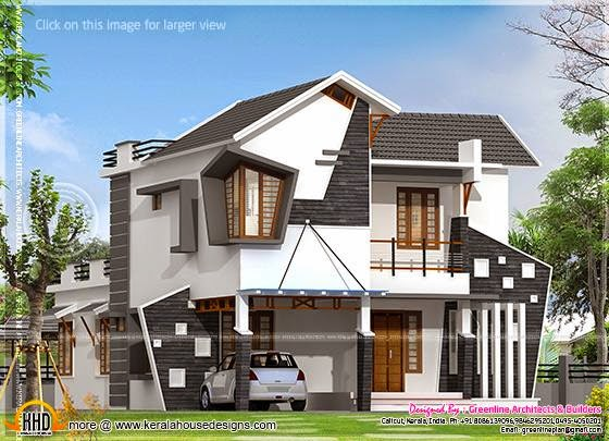 Unique house exterior in 2154 square feet kerala home for Interesting house plans