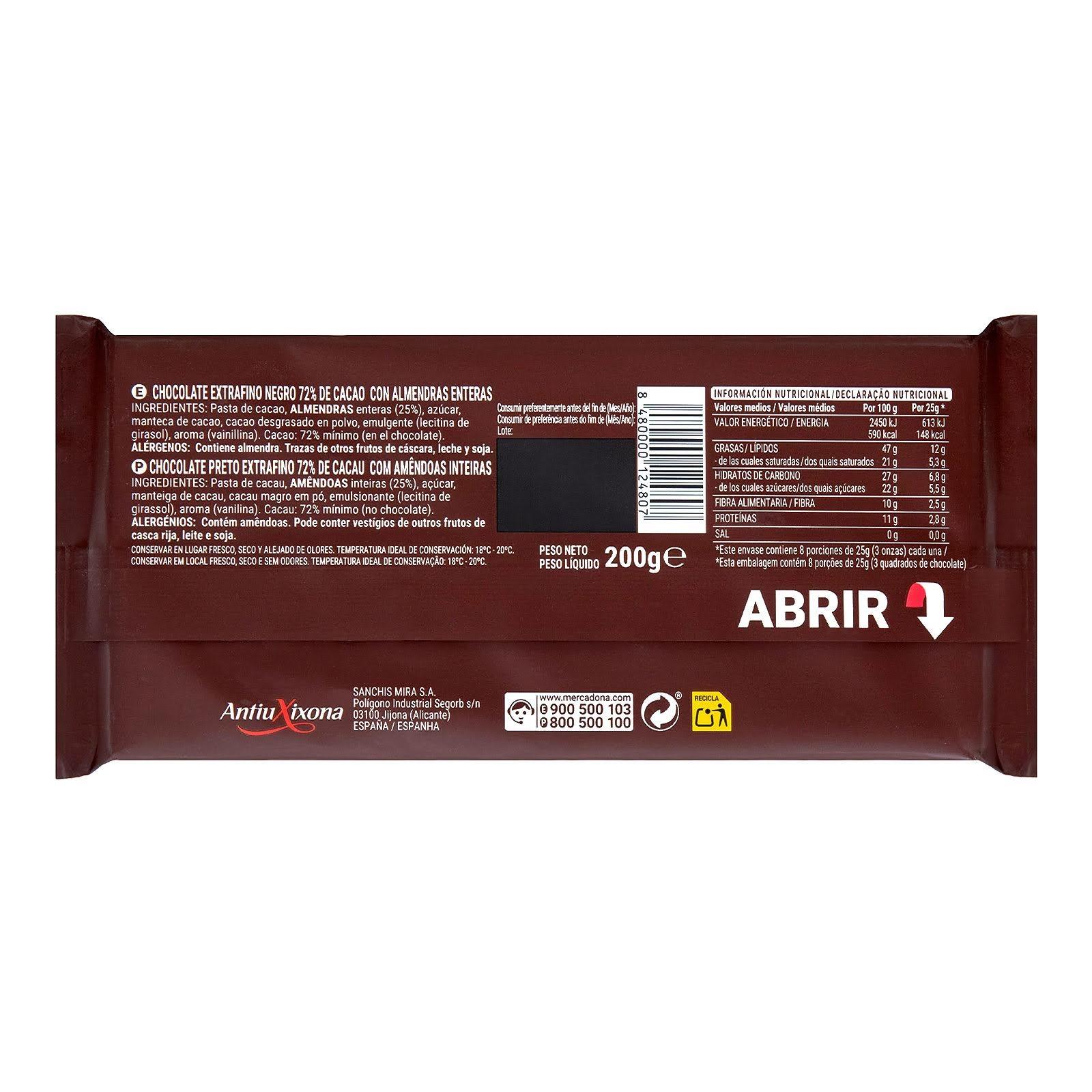 Chocolate negro con almendras enteras 72% de cacao Hacendado