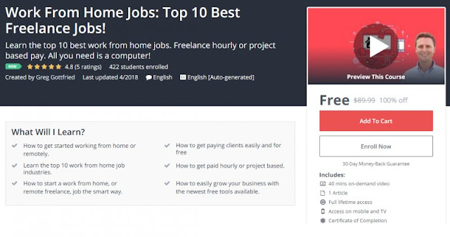 [100% Off] Work From Home Jobs: Top 10 Best Freelance Jobs!| Worth 89,99$
