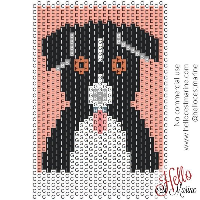 Diagramme du berger australien tricolore à tisser avec des perles Miyuki delicas 11/0 par Hello c'est Marine