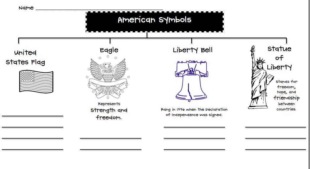 U.s. symbols writing activities first grade level