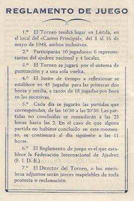 I Torneo Nacional de Ajedrez de Lérida 1948, reglamento