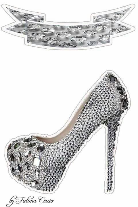 Zapato Plateado con Brillantes: Toppers para Tartas, Tortas, Pasteles, Bizcochos o Cakes para Imprimir Gratis.