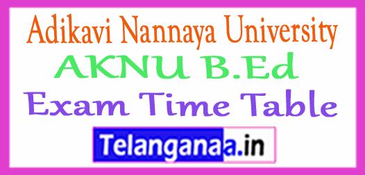 Adikavi Nannaya University AKNU B.Ed Exam Time Table
