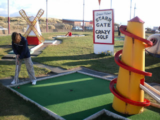 Emily Gottfried playing the Arnold Palmer Crazy Golf course at Starr Gate in Blackpool