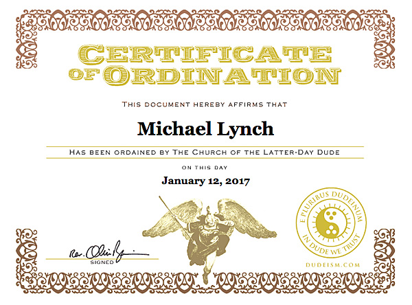 Certificate of Ordination Church of the Latter-Day Dude