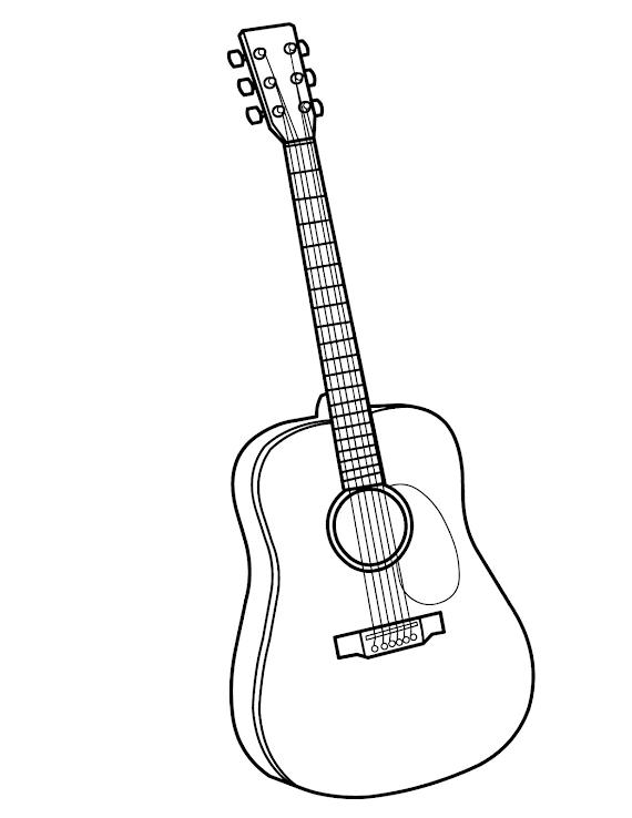 Download gratis Sketsa Gambar Gitar Akustik