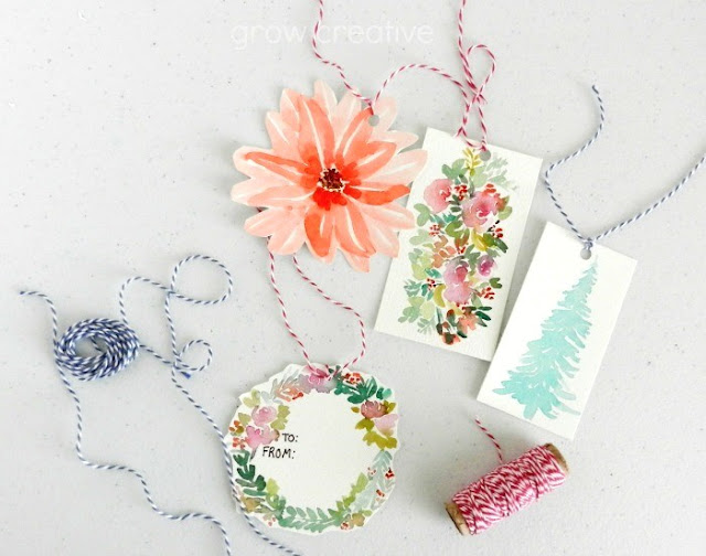 DIY watercolor gift tags: grow creative blog