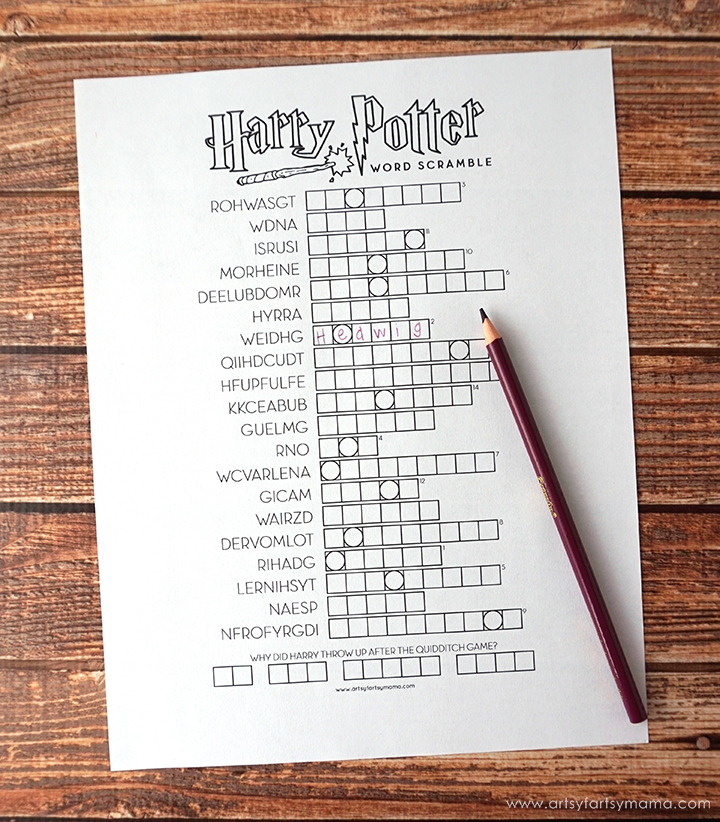 graphic about Harry Potter Crossword Puzzle Printable known as Absolutely free Printable Harry Potter Recreation Pack artsy-fartsy mama