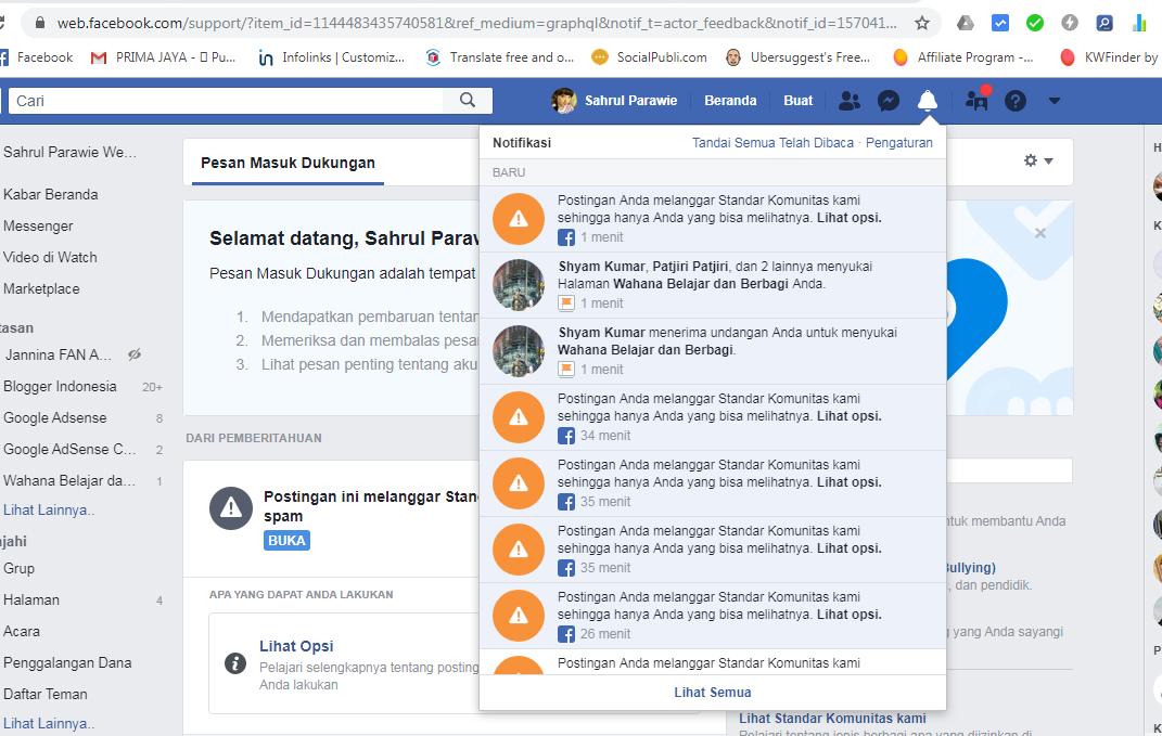 Postingan FB dianggap Spam