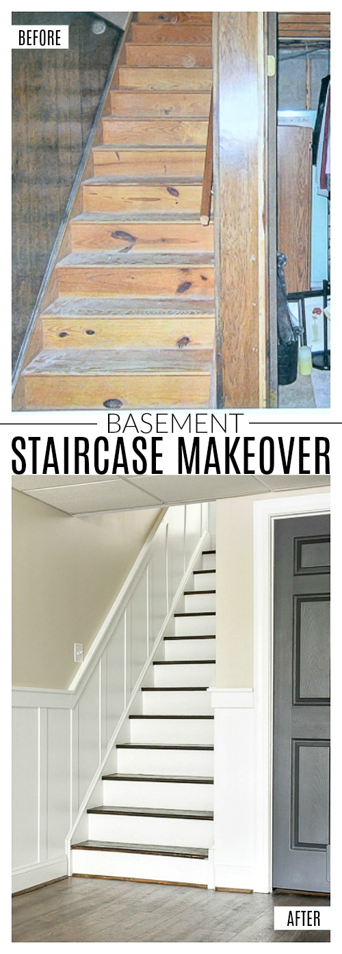 Before and after basement staircase makeover with board and batten