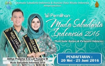 Pemilihan Muda Sabudarta (Muda Sadar Budaya & Pariwisata Indonesia) Tahun 2016