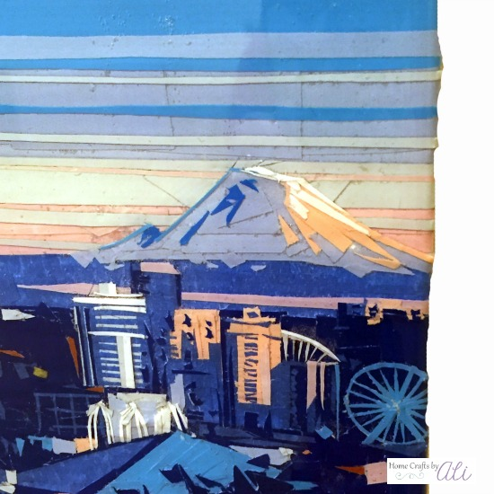 Mt Rainier artwork layers of colored tape