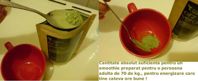 Imaginea cantitatii suficiente de pulbere de orz verde, pentru o persoana adulta de aprox. 70 kg.