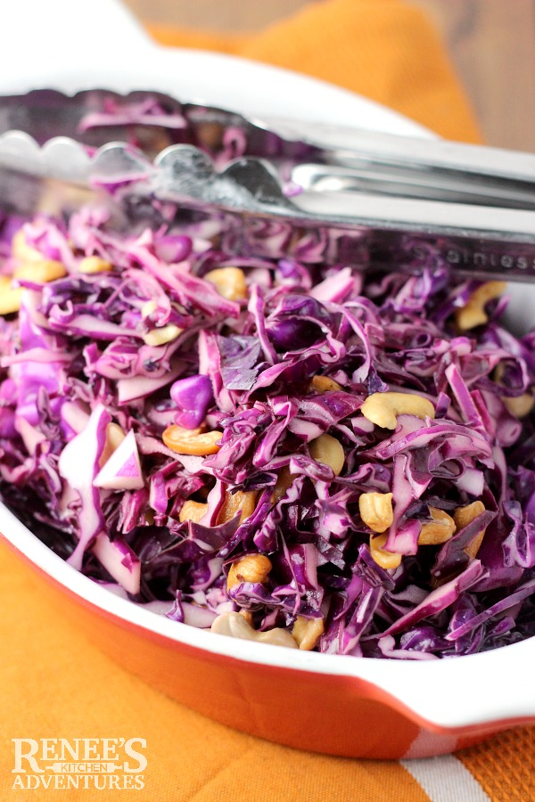 Red Cabbage with Cashews -easy, healthy, vegetarian coleslaw recipe