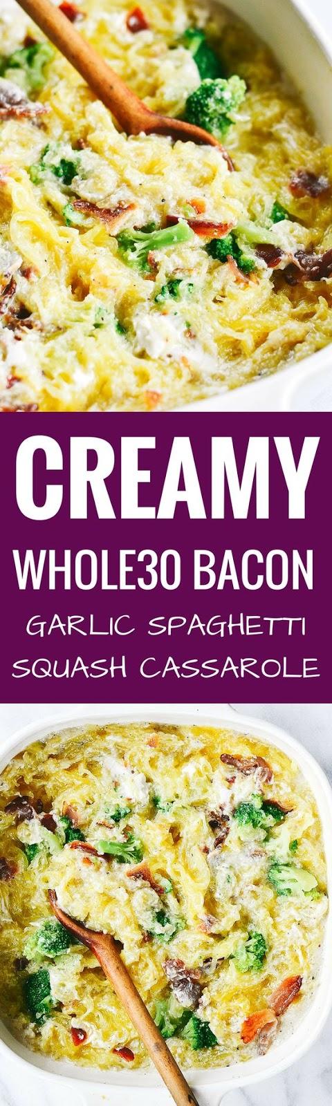 Creamy Whole30 Bacon Garlic Spaghetti Squash