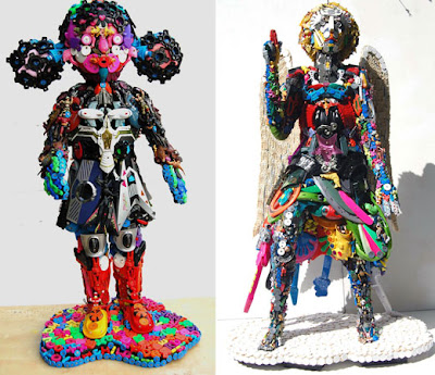 Arte reciclado y esculturas en plástico