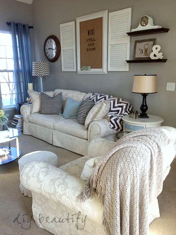 patterned living room chairs white and wood decorating with a neutral palette | diy beautify