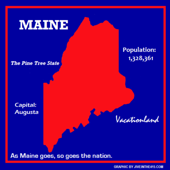 State of Maine in Red and Blue by jiveinthe415.com