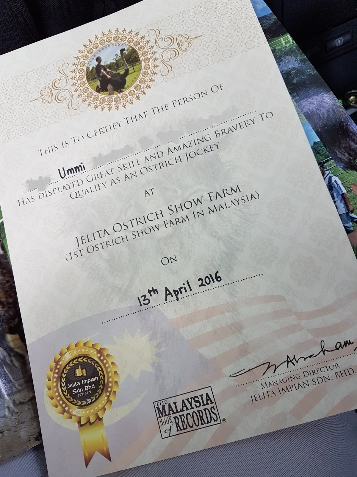 certificate as an ostrich jockey at Jelita Ostrich Farm, Port Dickson | Ummi Goes Where?