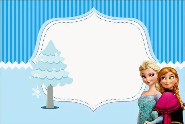 Para hacer invitaciones, tarjetas, marcos de fotos o etiquetas, para imprimir gratis de Frozen en Navidad Azul.