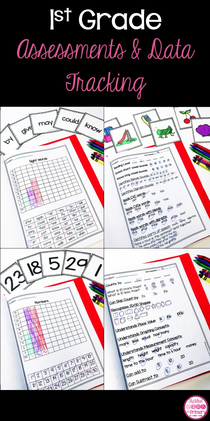 Use these 1st grade assessment and data tracking folders to keep track of how your students are doing in reading and math. These are great for monthly check-ins or report card time!