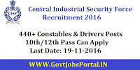CISF Recruitment 2016 For 440+ Constables & Drivers Posts Apply Here